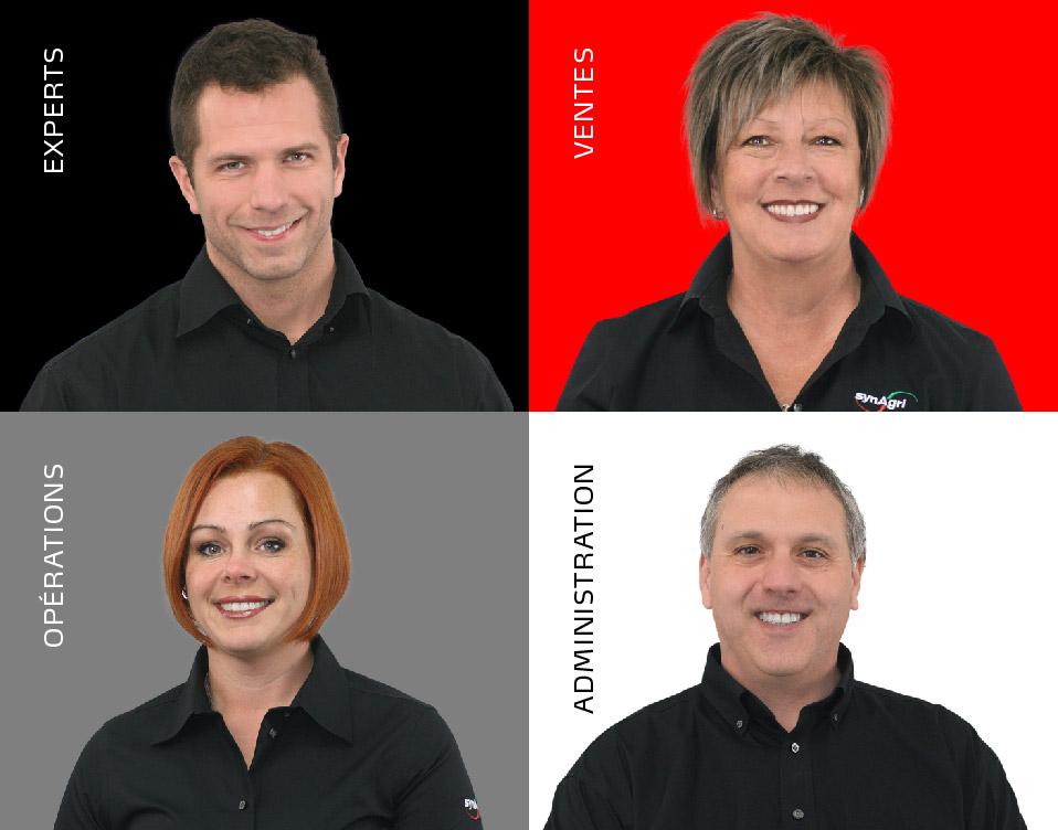 Grille de 4 photos d'employés Synagri